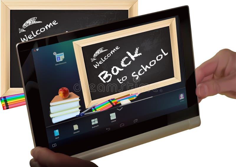 Concepto de nuevo a escuela en la pantalla de la tableta libre illustration
