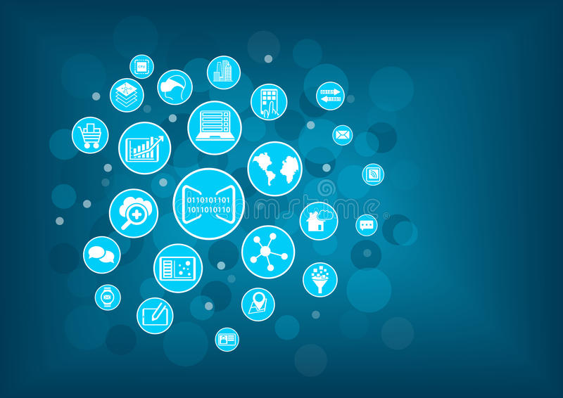 Concepto de numeración del negocio Vector el ejemplo de los diversos iconos relacionados con el negocio digital como los disposit stock de ilustración