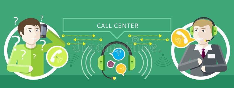 Concepto de operador y de clientes de centro de llamada ilustración del vector