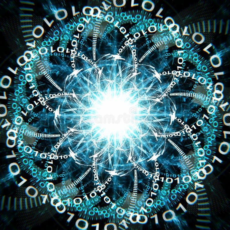 Concepto de ordenador cuántico que corre con los qubits y las ondas azules ilustración del vector