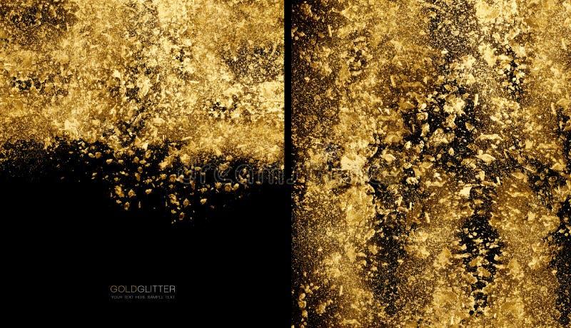 Concepto de oro del fondo de las escamas Polvo dispersado del brillo del oro en negro imágenes de archivo libres de regalías