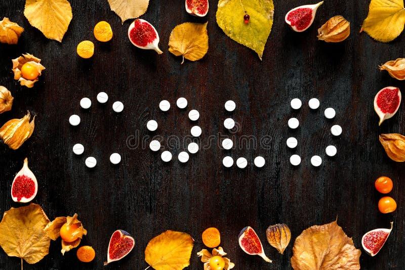 Concepto de otoño frío - píldoras, hojas en la madera oscura foto de archivo libre de regalías