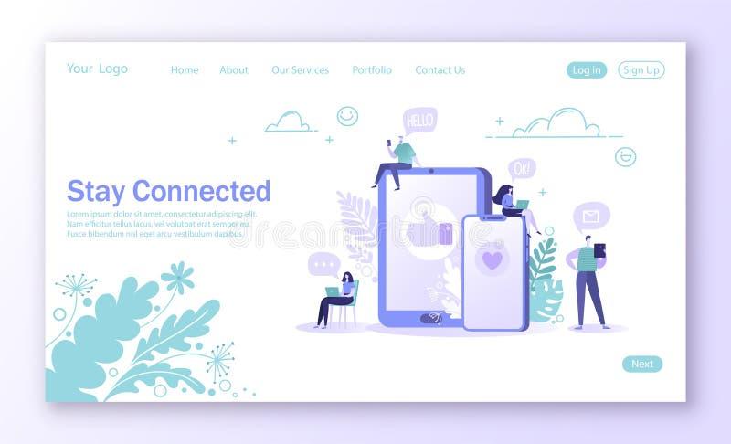 Concepto de página de aterrizaje en tema social de la red de los medios libre illustration