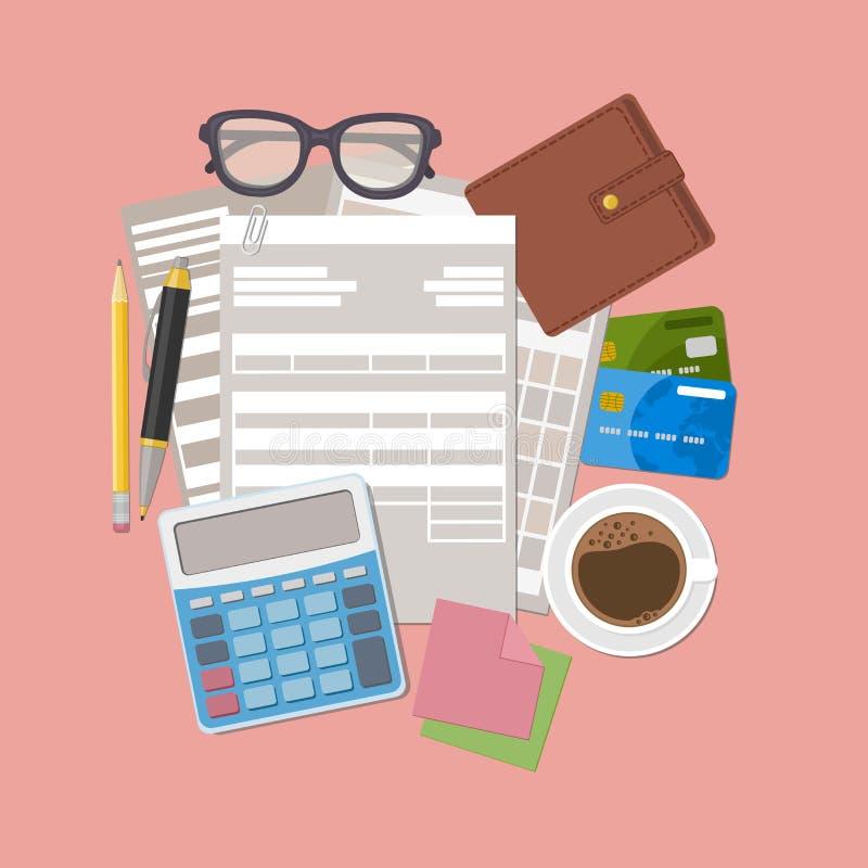 Concepto de pago de impuestos Cuentas de pago, recibos, facturas papeleo Forma de papel de la factura, cartera, tarjetas de crédi libre illustration