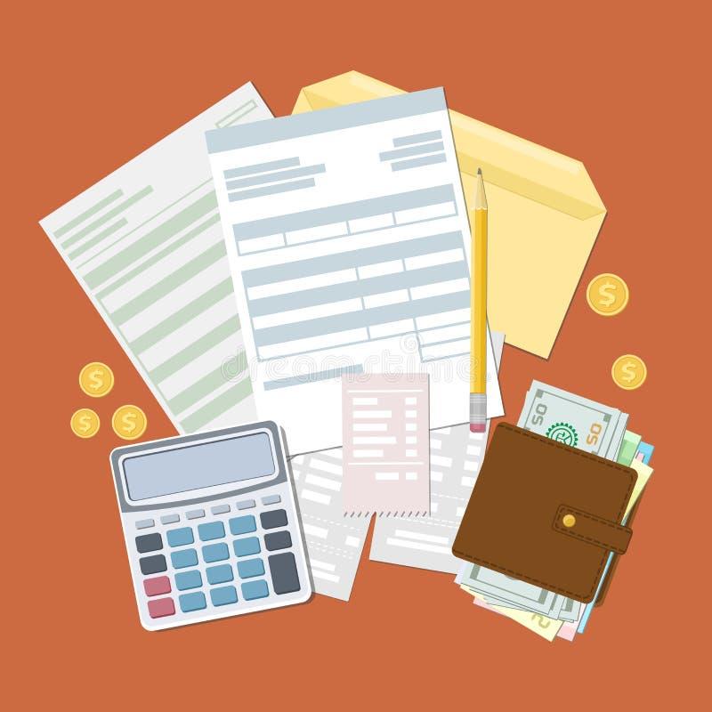 Concepto de pago y de factura de impuestos stock de ilustración