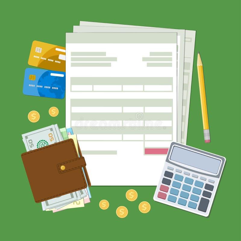 Concepto de pago y de factura de impuestos libre illustration