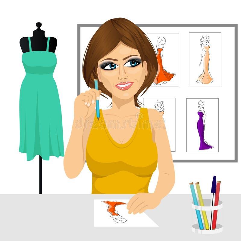 Concepto de pensamiento del diseñador de moda libre illustration