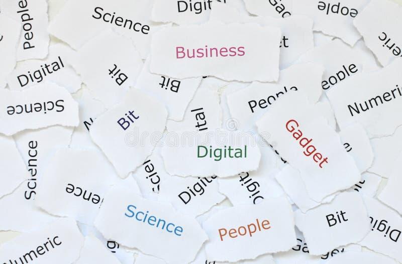 Concepto de pequeños pedazos al azar de papel quebrado impresos con las palabras digitales, artilugio, negocio, pedazo, ciencia,  imagen de archivo libre de regalías