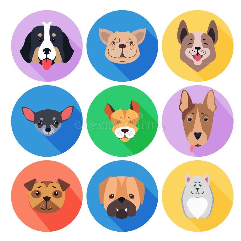 Concepto de perros criados en línea pura en iconos del círculo coloreado ilustración del vector