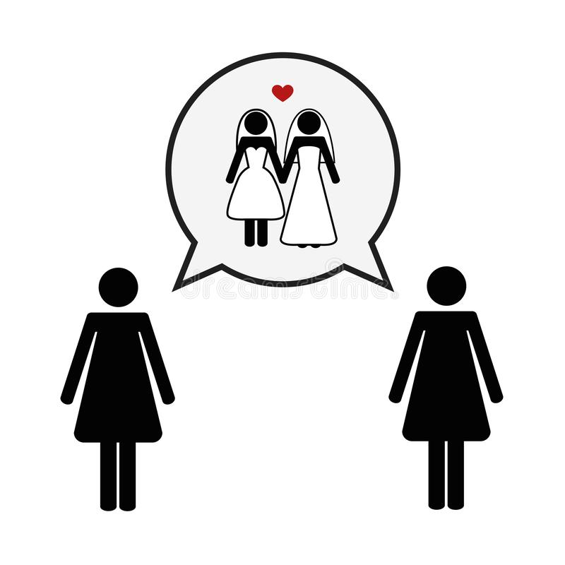 Concepto de pictograma lesbiano del amor libre illustration