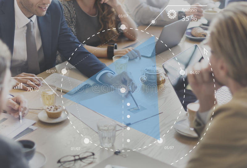 Concepto de planificación de la reunión de reflexión de la estrategia de la discusión del progreso fotografía de archivo libre de regalías