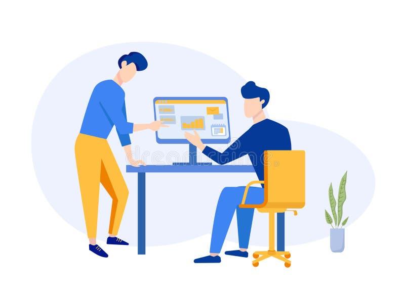 Concepto de planificación del trabajo en equipo de la estrategia de la compañía Lugar de trabajo de la oficina para el análisis d libre illustration
