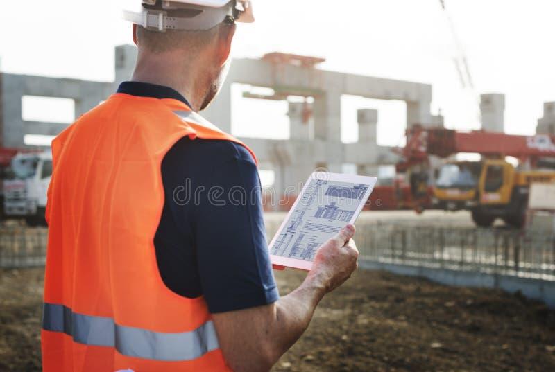 Concepto de Planning Contractor Developer del trabajador de construcción imágenes de archivo libres de regalías