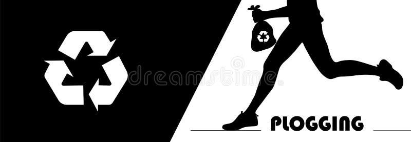 Concepto de Plogging Una silueta humana que corre y que lleva a cabo un litte stock de ilustración