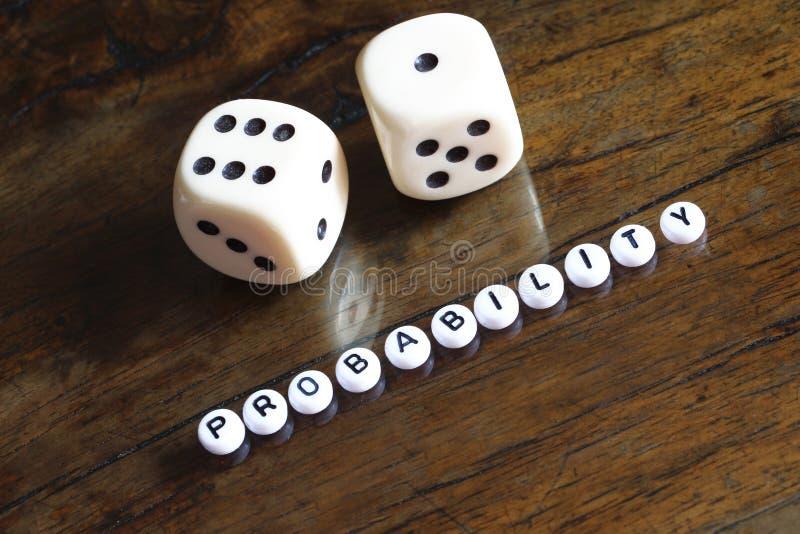 Concepto de probabilidad, número siete imagen de archivo