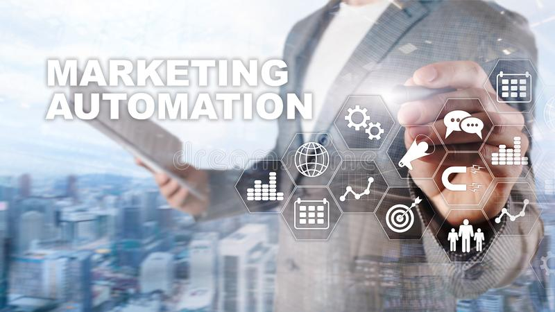 Concepto de proceso de comercialización del negocio de Internet del sistema de la tecnología de programación de la automatización imágenes de archivo libres de regalías