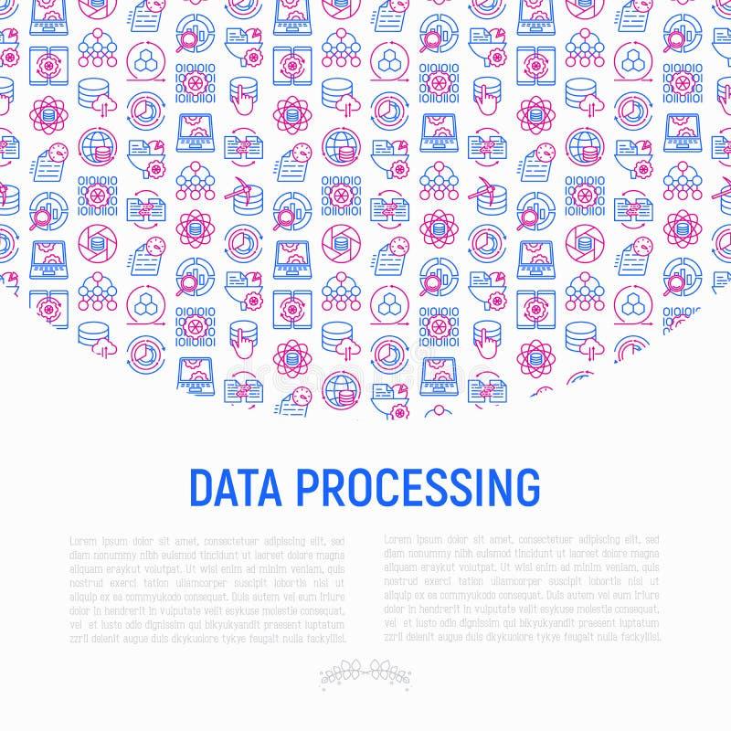 Concepto de proceso de datos con la línea fina iconos ilustración del vector