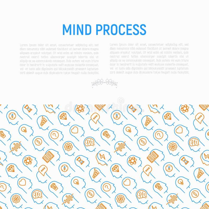 Concepto de proceso de la mente con la línea fina iconos stock de ilustración