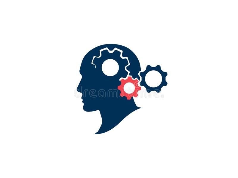 Concepto de proceso de la reuni?n de reflexi?n Proceso y actividad cerebral de pensamiento Cabeza humana de la silueta con los en stock de ilustración