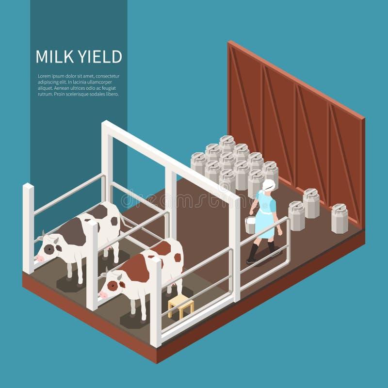 Concepto de producción de leche stock de ilustración