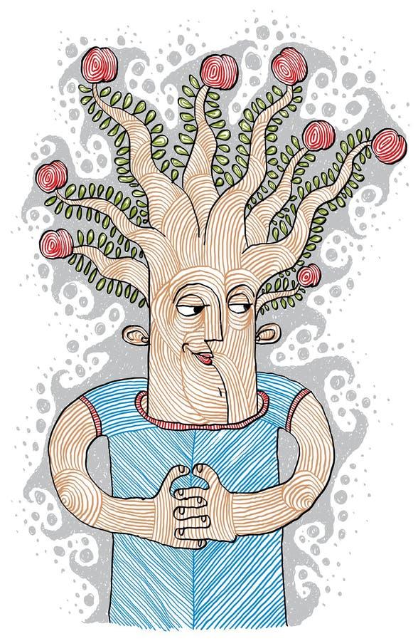 Concepto de producto intelectual Árbol del illustrat del vector de la idea de la vida ilustración del vector