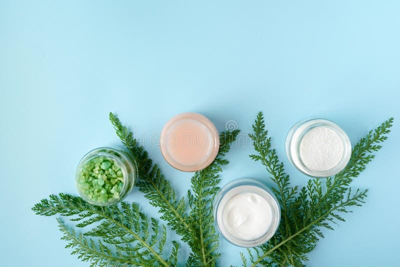 Concepto de producto natural de belleza para o cuarto de baño crema, jabón, hojas verdes, solt del mar en fondo azul con el espac foto de archivo libre de regalías