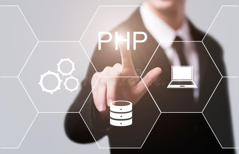 Concepto de programación de la codificación del desarrollo web del lenguaje del PHP imágenes de archivo libres de regalías