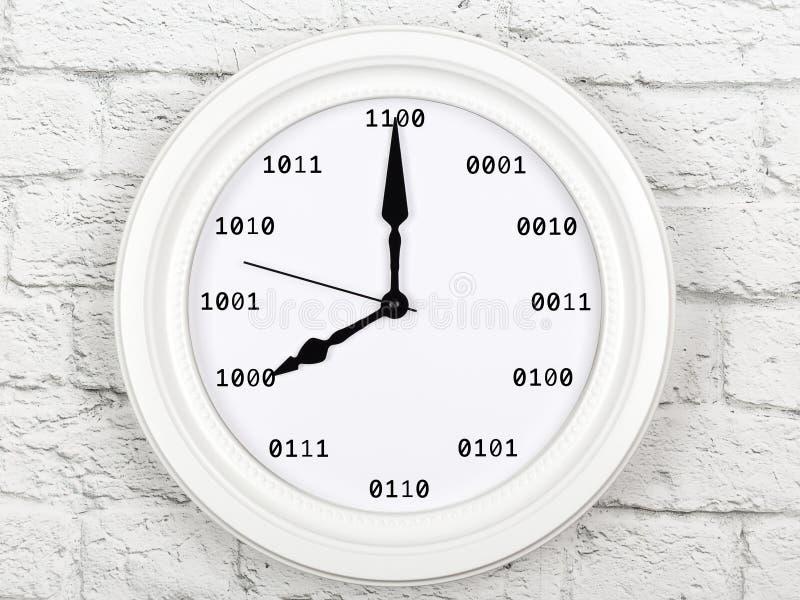 Concepto de programación Reloj con valores de código decimal foto de archivo