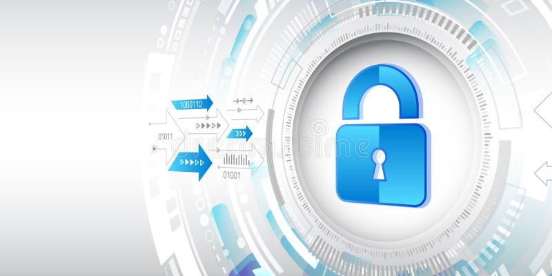 Concepto de protección de datos personales Sistema en línea de seguridad de Internet stock de ilustración