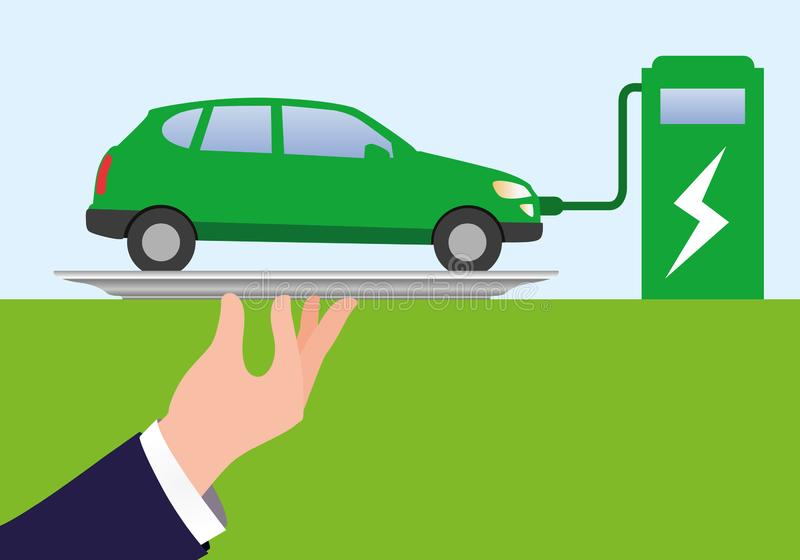 Concepto de protección del medio ambiente, con una mano presentando un coche eléctrico en una bandeja stock de ilustración