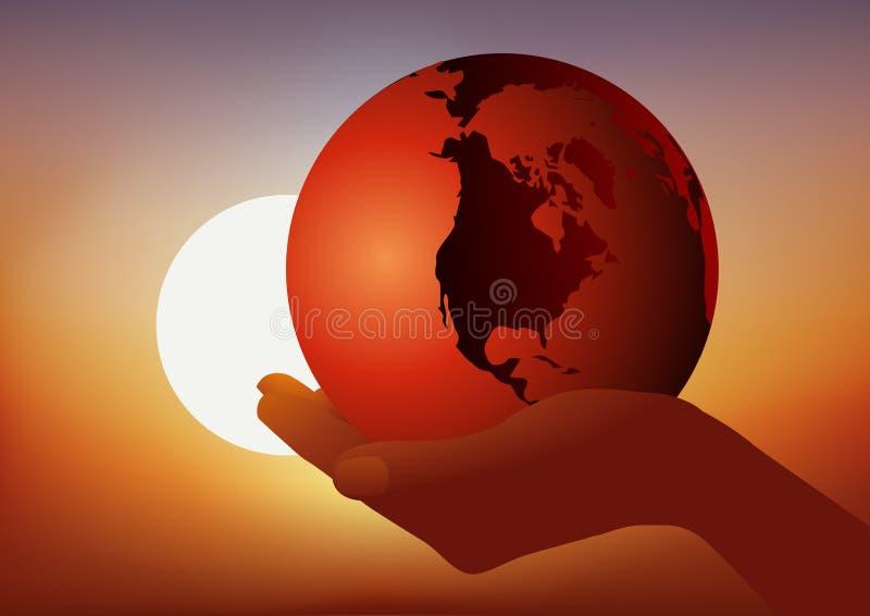 Concepto de protección del medio ambiente contra el cambio climático, con una mano que lleva la tierra ilustración del vector