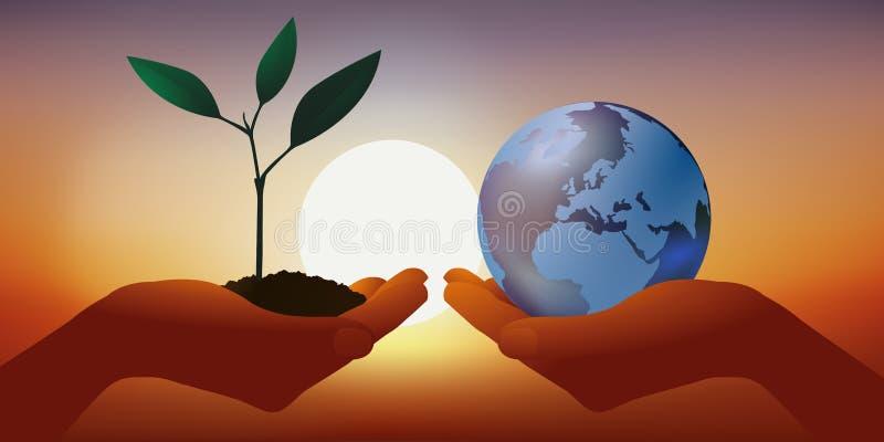 Concepto de protección del medio ambiente contra la interrupción del clima, con una mano que presenta una plántula y otra llevand stock de ilustración