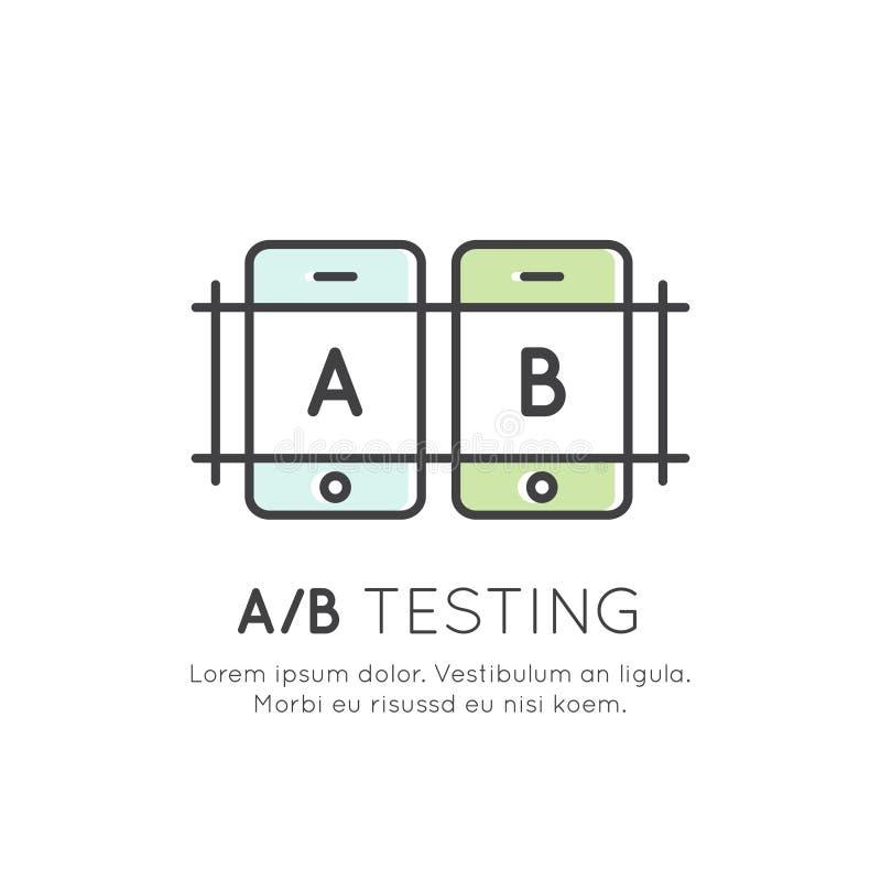 Concepto de prueba de A/B, de fijación del insecto, de reacción de usuario, de proceso de la comparación, de móvil y de desarroll stock de ilustración