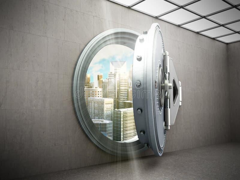 Concepto de puerta segura grande de la ciudad segura con resolut de los lingotes de la ciudad el alto libre illustration