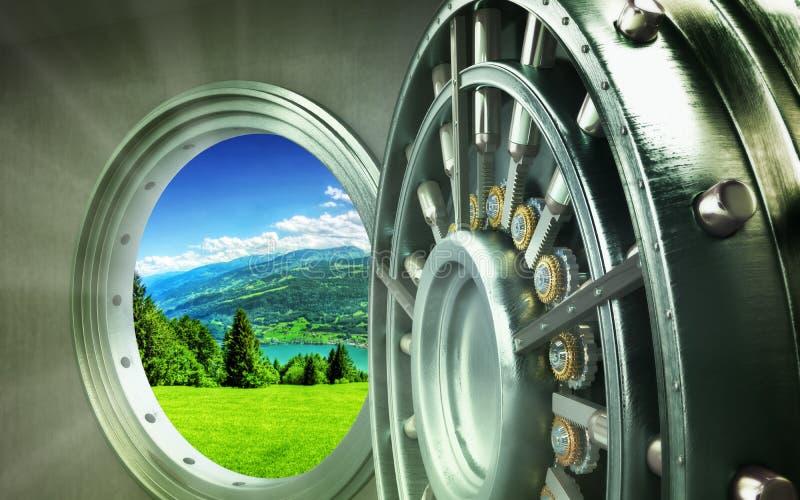 Concepto de puerta segura grande de la protección de naturaleza con los lingotes de la ciudad hola foto de archivo