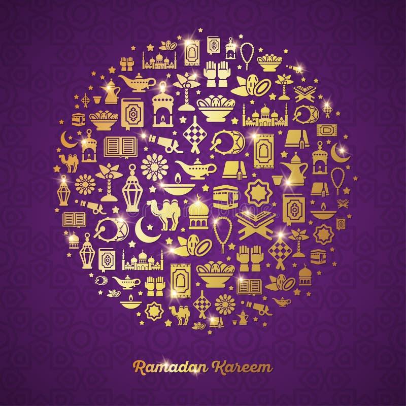 Concepto de Ramadan Kareem con los iconos del oro en círculo libre illustration