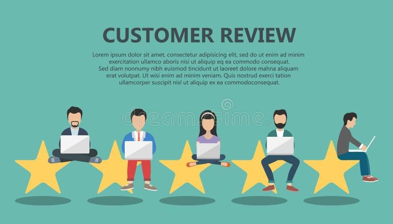 Concepto de reacción, de mensajes de los certificados y de notificaciones Clasificación en el ejemplo del servicio de atención al libre illustration
