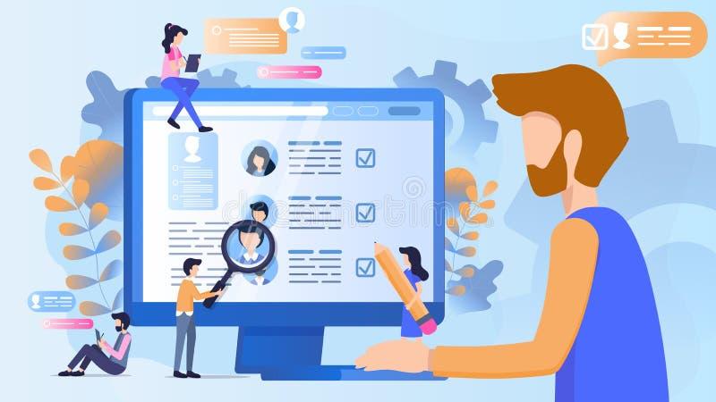 Concepto de reclutamiento a trabajar en la compañía stock de ilustración