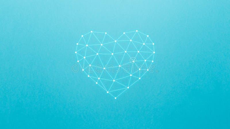Concepto de red neuronal con el coraz?n en el fondo azul Inteligencia artificial, m?quina y profundamente aprendizaje, redes neur fotos de archivo libres de regalías