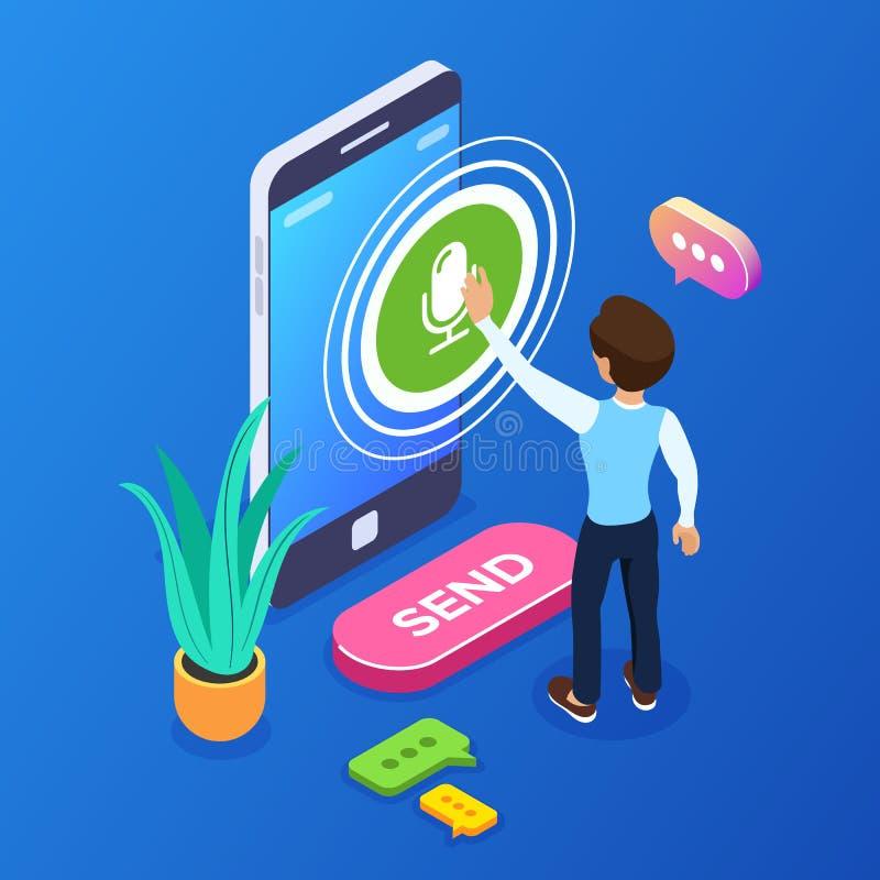concepto de registro isométrico del mensaje de la voz 3d Una persona registra una voz o un mensaje audio usando un teléfono móvil libre illustration