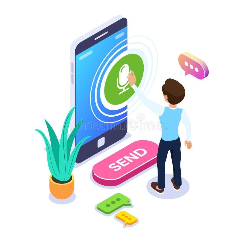 Concepto de registro isom?trico del mensaje de la voz Una persona registra una voz o un mensaje audio usando un tel?fono m?vil Bu libre illustration