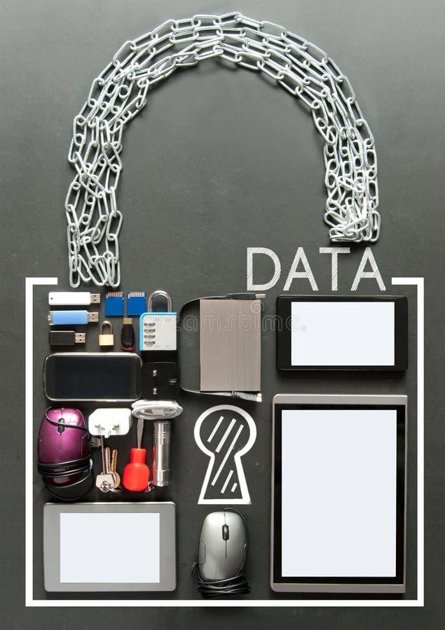 Concepto de regla del candado de la protección de datos general de GDPR fotos de archivo