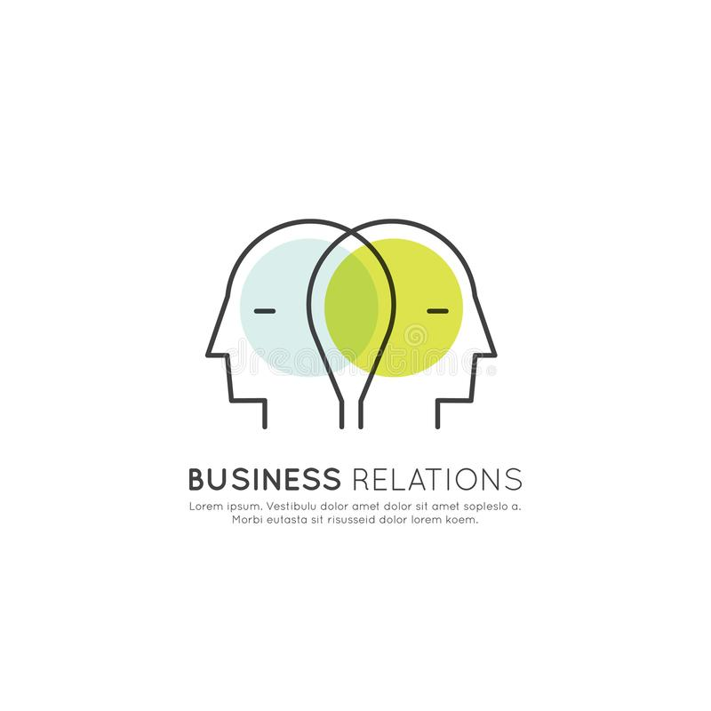 Concepto de relaciones de negocio y sociedad, dos cabezas humanas conectadas, inspirándose, concepto de la cooperación ilustración del vector