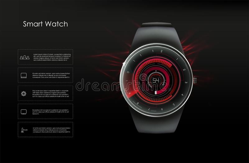 Concepto de relojes elegantes, tonos rojos Imagen del vector ilustración del vector