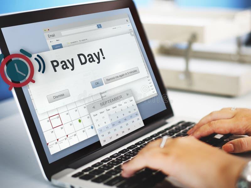 Concepto de renta de las finanzas del presupuesto de la contabilidad del día de cobro imágenes de archivo libres de regalías