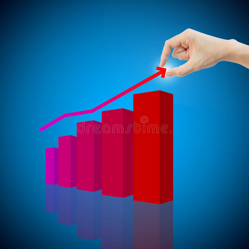 Concepto de renta humano del beneficio de la toma de la mano con el gráfico imagen de archivo libre de regalías