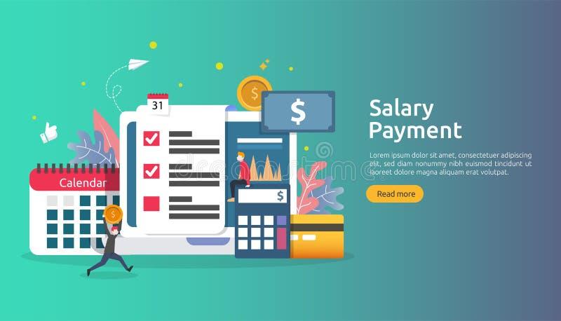 Concepto de renta de la nómina de pago prima anual del pago del sueldo desembolso con el papel, la calculadora, y el carácter de  libre illustration