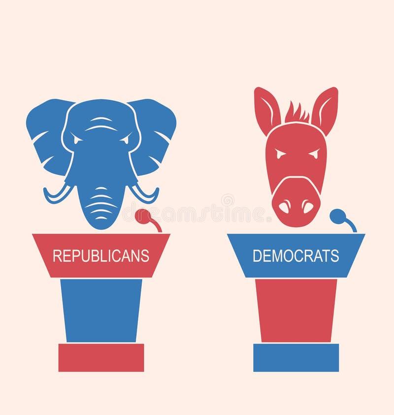Concepto de republicanos y de Demócratas del discusión ilustración del vector