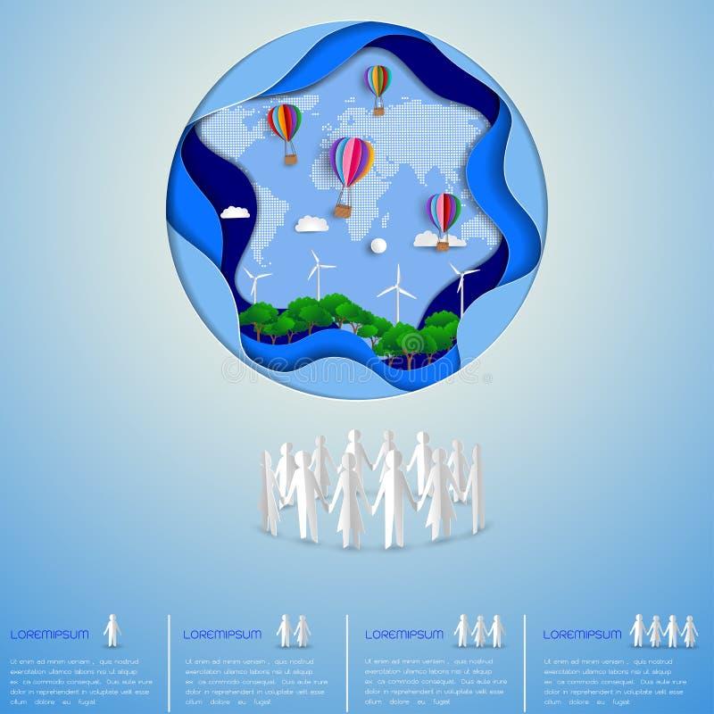 Concepto de reserva amistosa del eco el mundo y el ambiente, paisaje verde de la naturaleza de la energía libre illustration