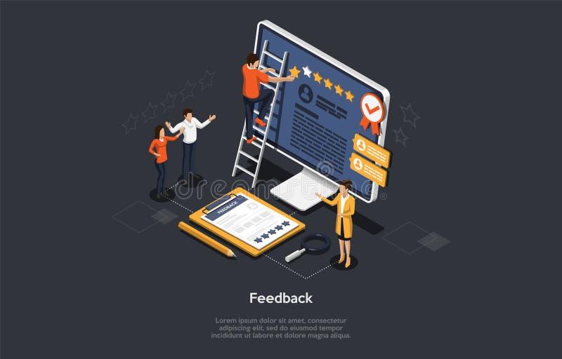 Concepto de retroalimentación isométrica La gente está recibiendo comentarios de cinco estrellas Clientes que eligen calificación libre illustration